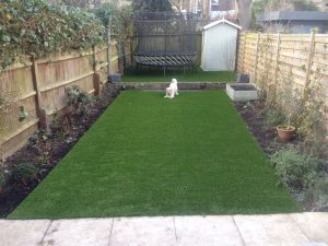 Garden with artificial grass installed